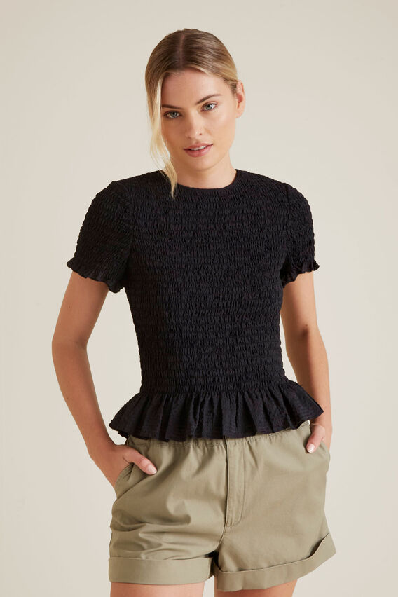 Shirred Frill Top  BLACK  hi-res