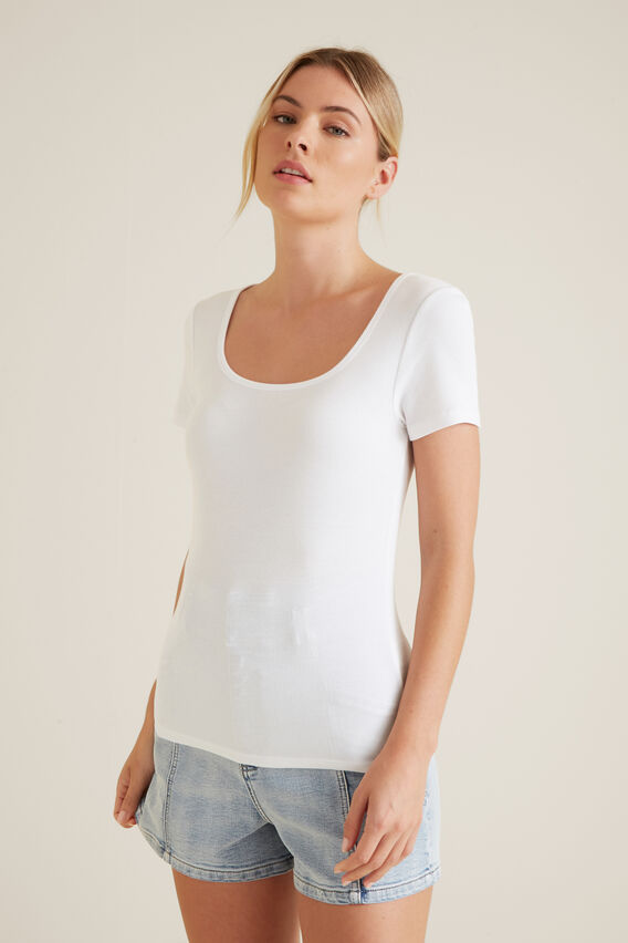 Square Neck Rib Tee  WHISPER WHITE  hi-res