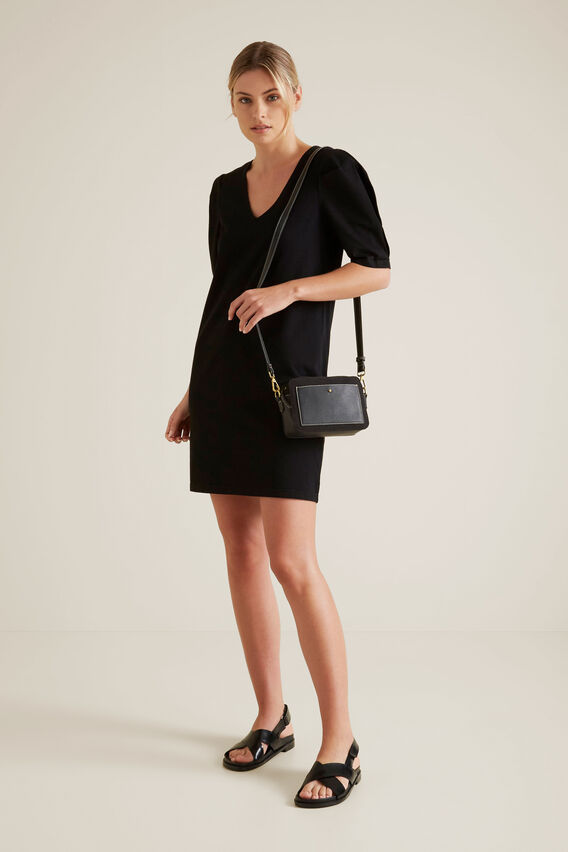 Mini Puff Sleeve Dress  BLACK  hi-res