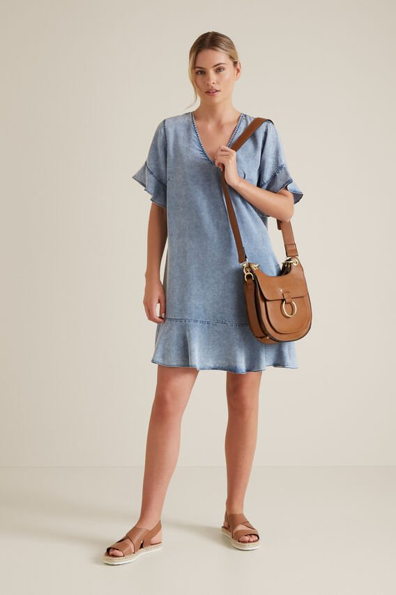 Flutter Sleeve Tencel Dress  LIGHT SKY  hi-res
