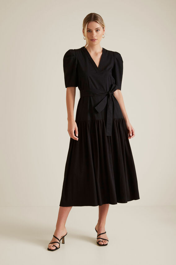 Puff Sleeve Midi Dress  BLACK  hi-res