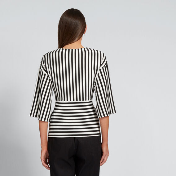 Stripe Twist Top  BISQUE/BLACK  hi-res