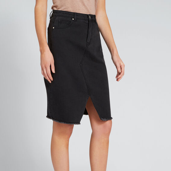 Longline Denim Skirt  DARK GREY WASH  hi-res