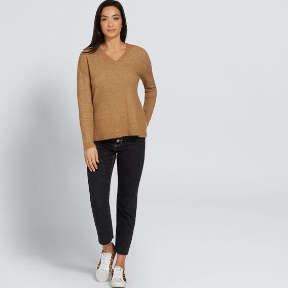 V Neck Plush Sweater  GINGERBREAD  hi-res