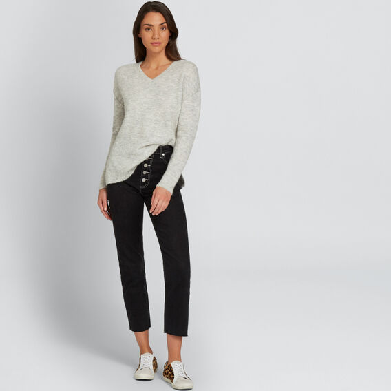 V Neck Plush Sweater  LIGHT ASH MARLE  hi-res