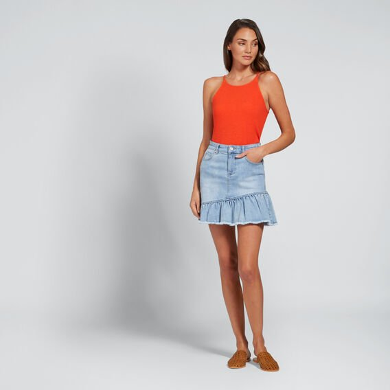 Asymmetric Ruffle Skirt  PASTEL DENIM WASH  hi-res