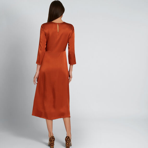 Twist Detail Midi Dress  BURNT TERRACOTTA  hi-res