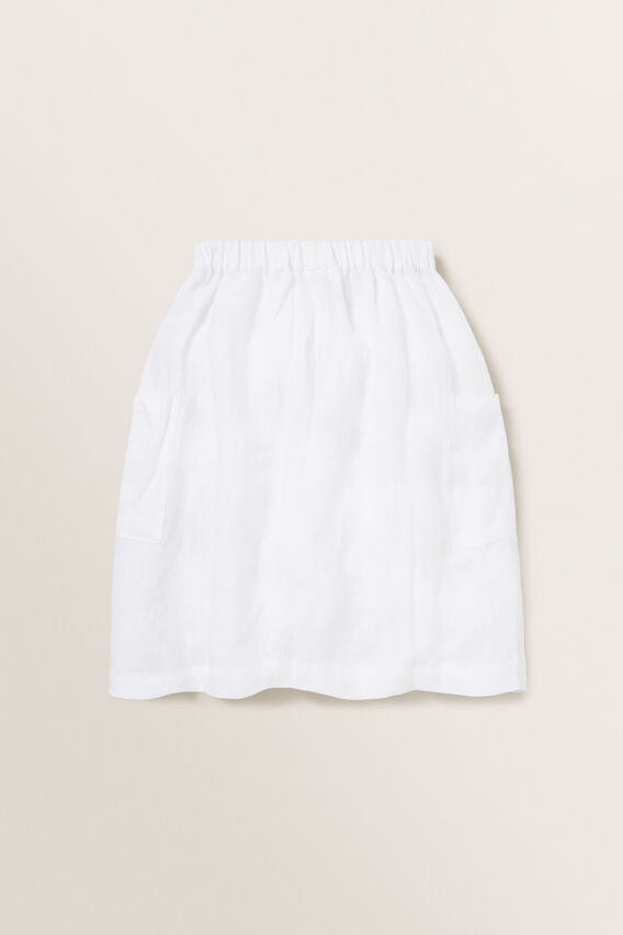 Linen Midi Skirt  WHITE  hi-res