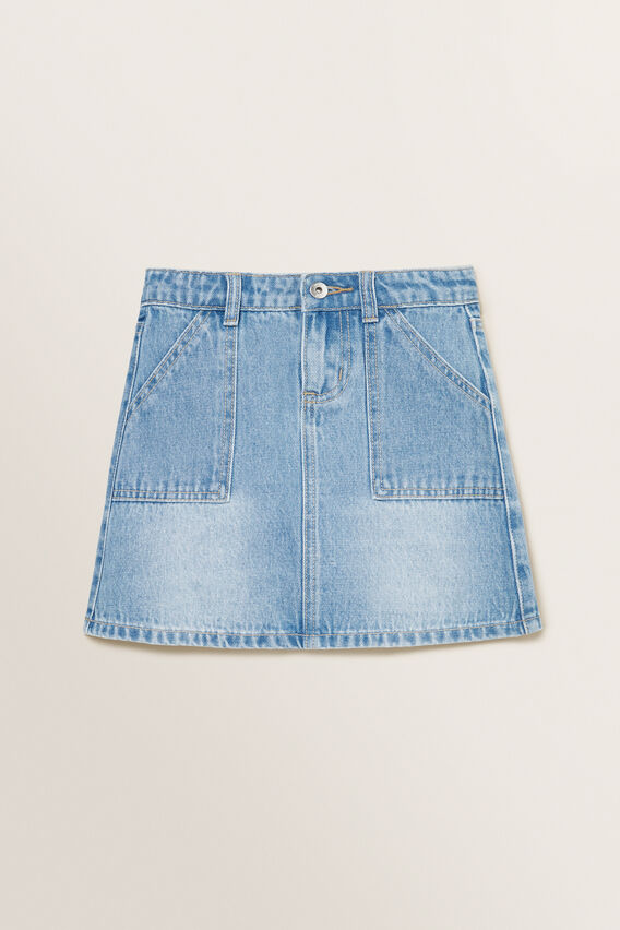 A-Line Denim Skirt  LIGHT BLUE  hi-res