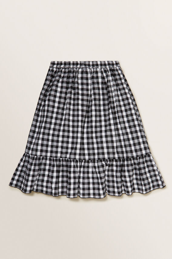 Gingham Midi Skirt  BLACK  hi-res