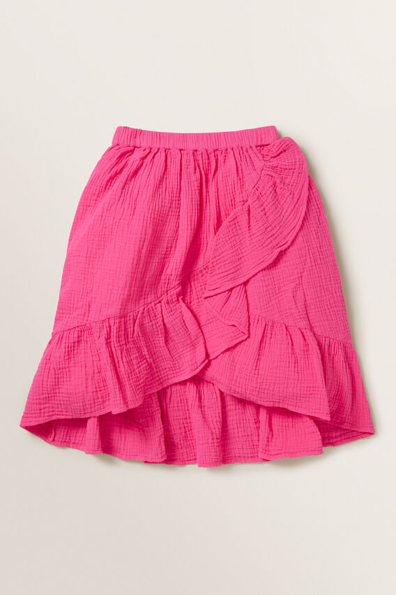 Cheesecloth Wrap Skirt  FUCHSIA  hi-res