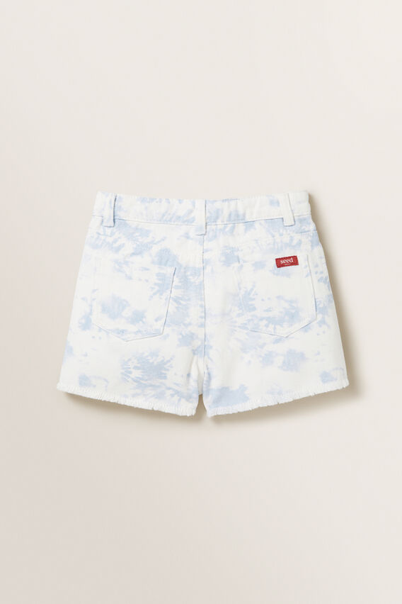 Tie Dye Denim Boyfriend Shorts  PALE BLUE  hi-res