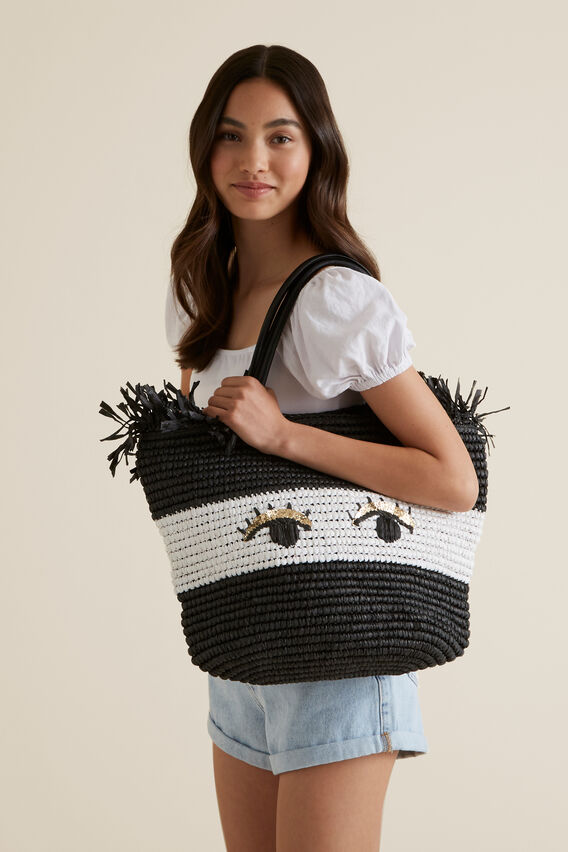 Straw Bag  BLACK  hi-res