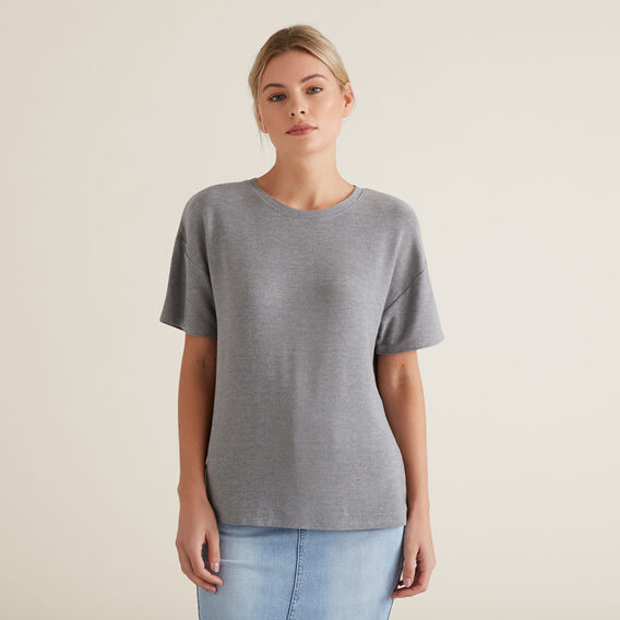Drop Shoulder Tee  STEEL GREY MARLE  hi-res