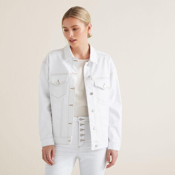Oversized Denim Jacket  WHITE  hi-res