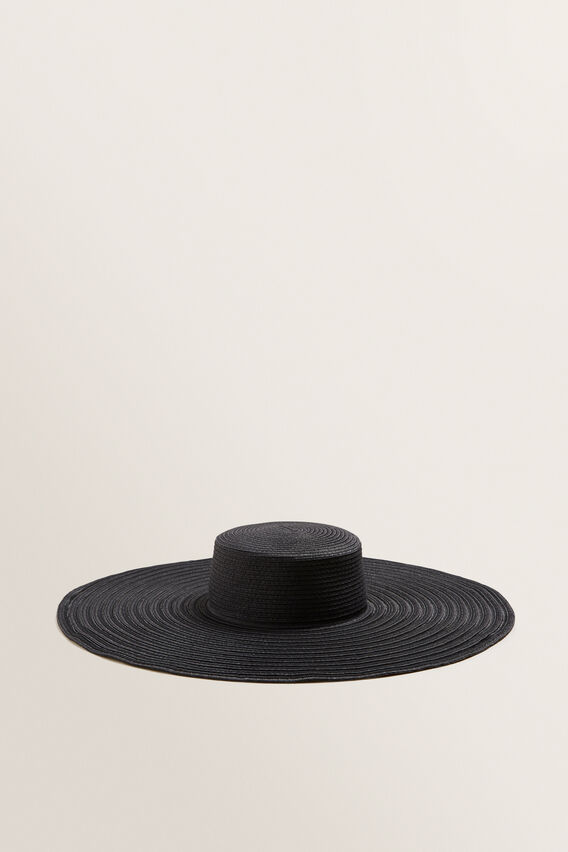 Stripe Brim Boater  BLACK  hi-res