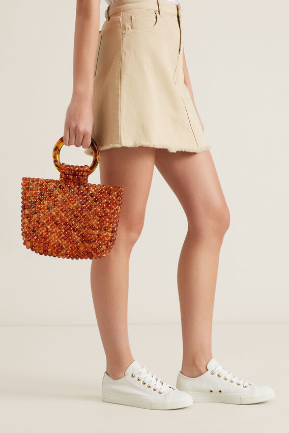 Ring Handle Beaded Tote  AMBER  hi-res