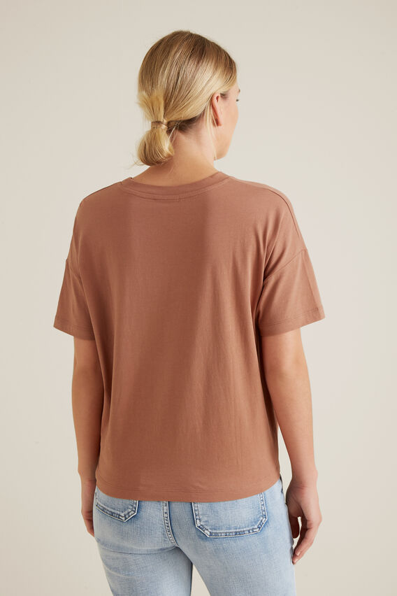 Gathered Tie Up Tee  RED DESERT  hi-res