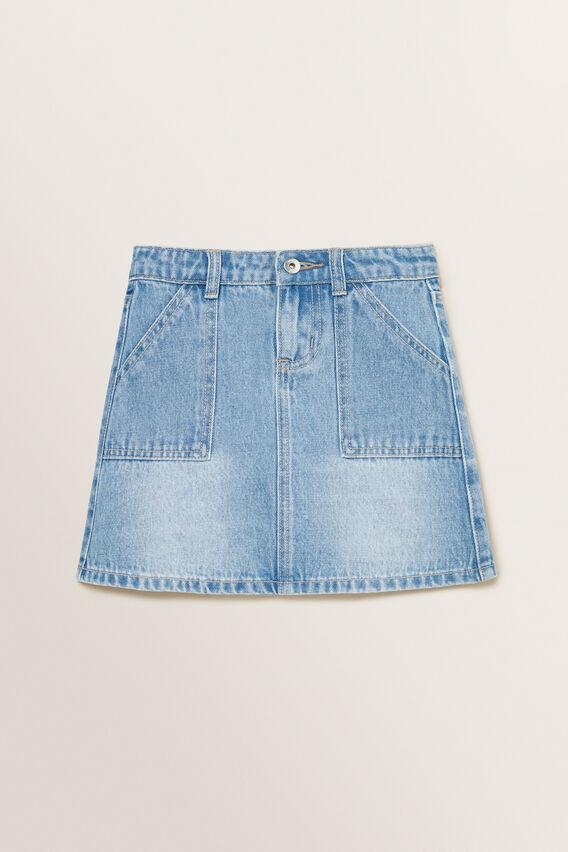 A-Line Denim Skirt  LIGHT BLUE  hi-res