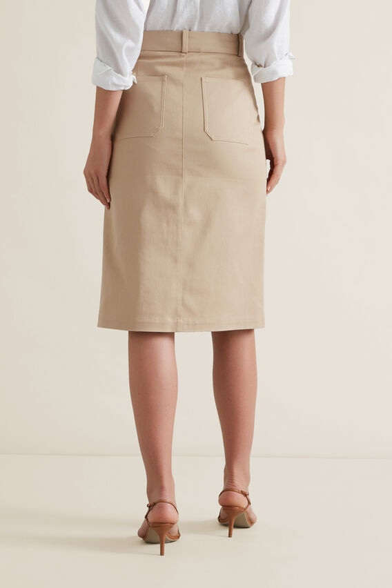 Patch Pocket Midi Skirt  QUICKSAND  hi-res
