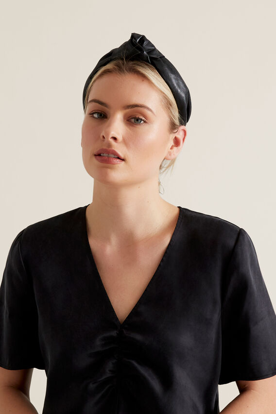 Leather Look Headband  BLACK  hi-res