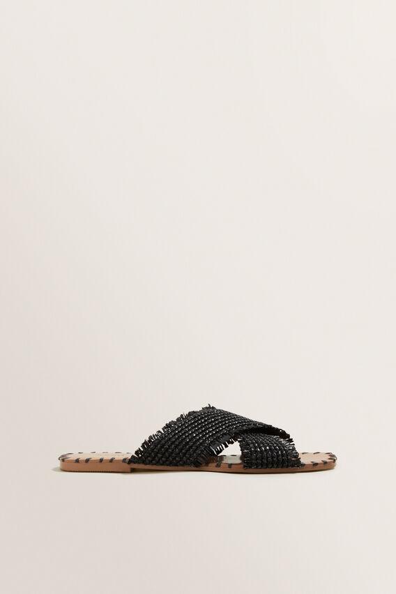 Anna Fringe Slide  BLACK  hi-res