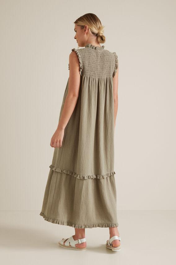 Shirred Crinkle Dress  SOFT KHAKI  hi-res
