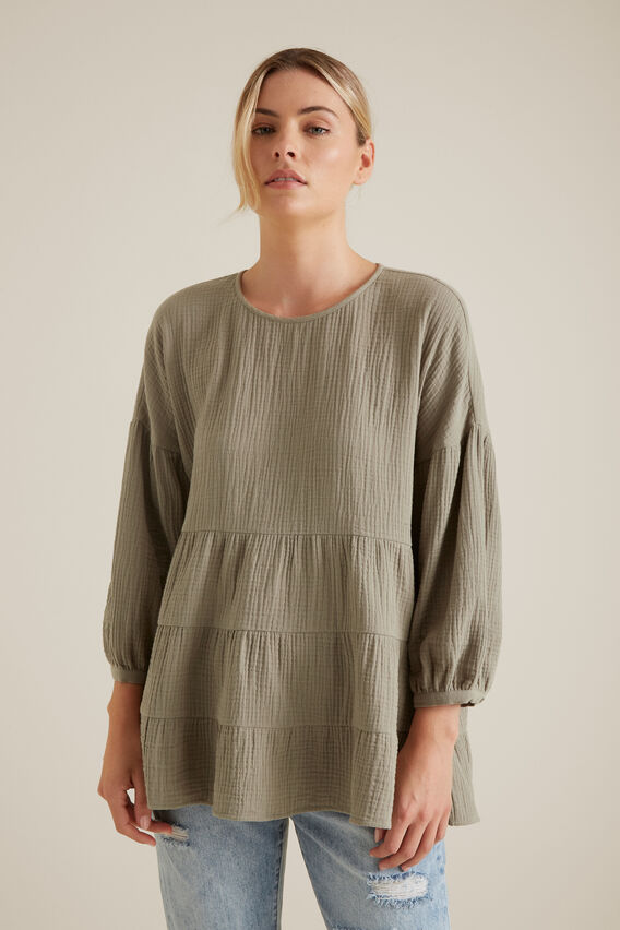 Textured Blouse  SOFT KHAKI  hi-res