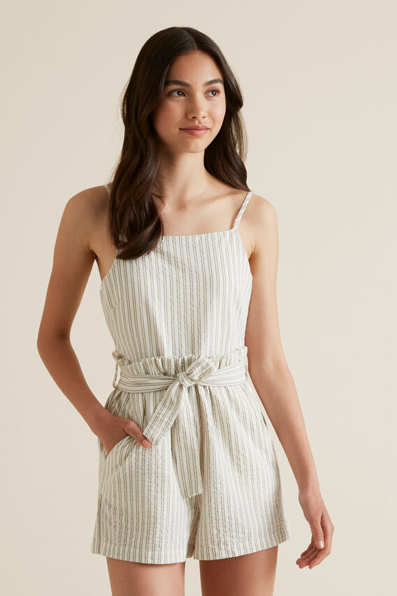 Ticking Stripe Playsuit  PALE KHAKI  hi-res