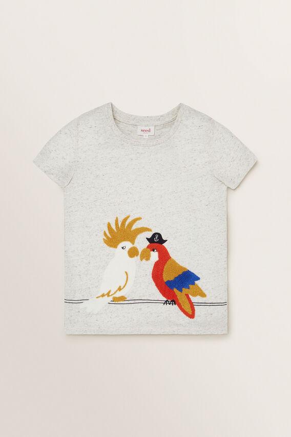 Chenille Birds Tee  COCONUT MARLE  hi-res