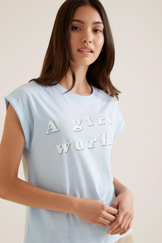 Slogan Short Sleeve Tee  BABY BLUE  hi-res