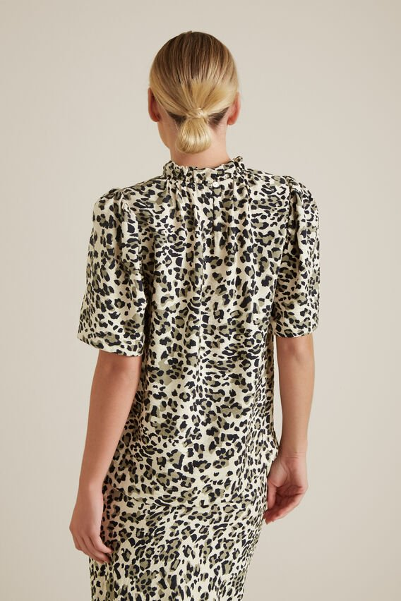 Animal Print Blouse  KHAKI ANIMAL  hi-res