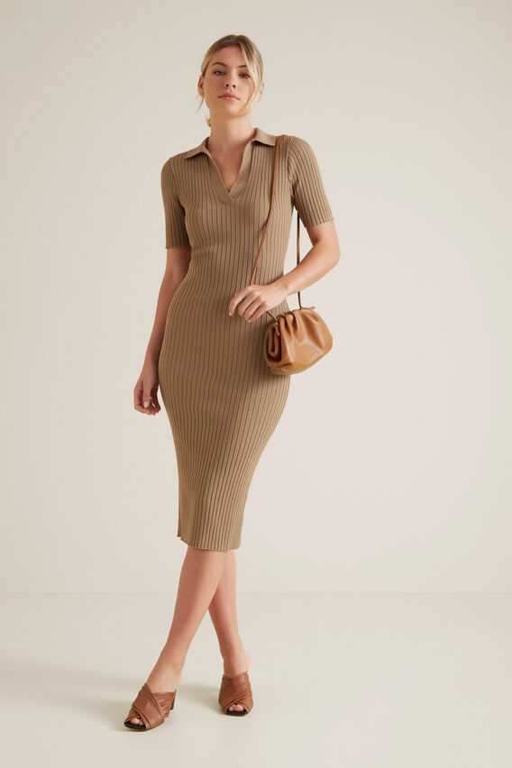Neat Collared Dress  WARM CINNAMON  hi-res