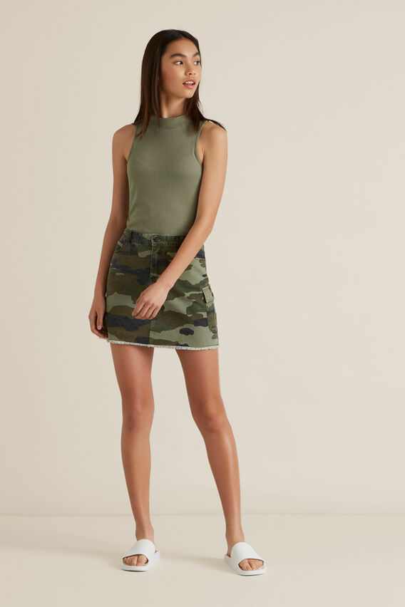 Utility Denim Skirt  CAMO  hi-res