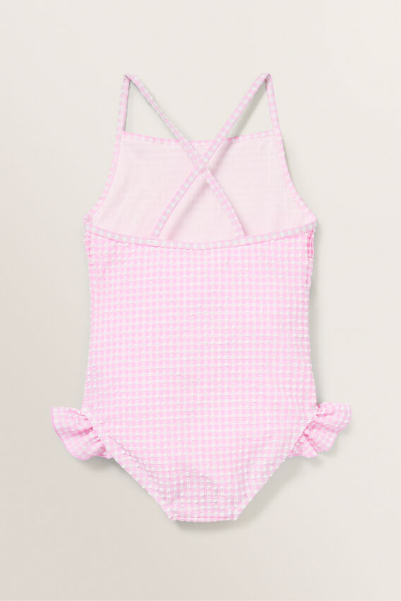 Shirred Gingham Bather  FAIRY FLOSS  hi-res