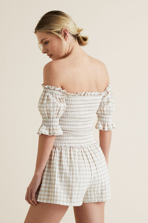Off Shoulder Gingham Top  GINGHAM  hi-res