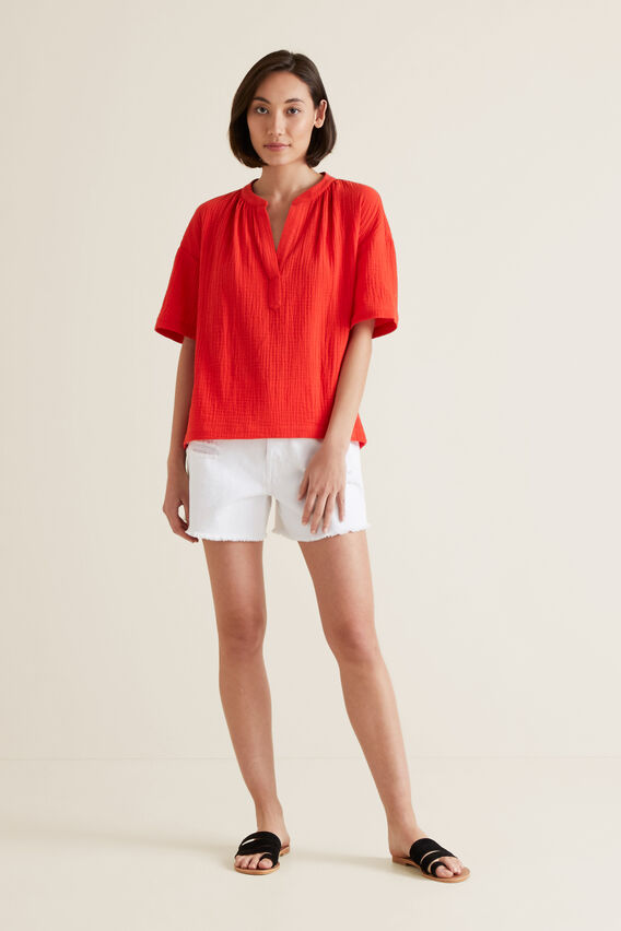 Textured Crinkle Blouse  BOLD POPPY  hi-res