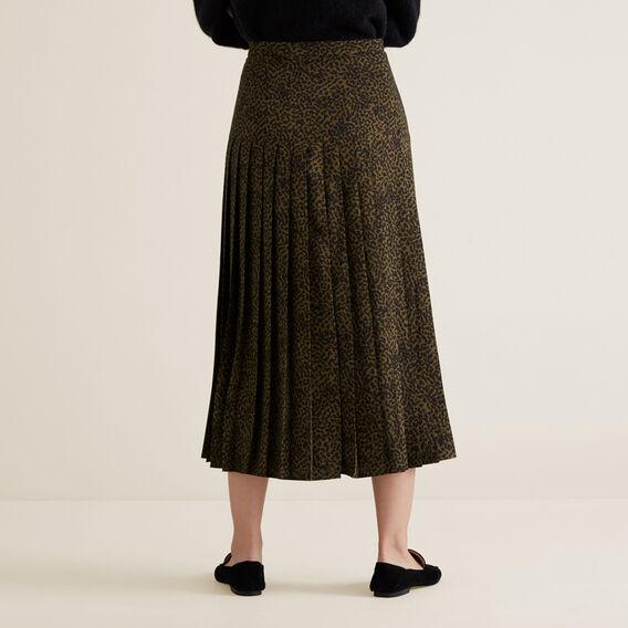 Pleated Animal Skirt  RICH OLIVE ANIMAL  hi-res
