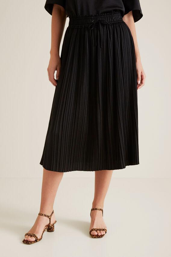 Pleat Detail Skirt  BLACK  hi-res