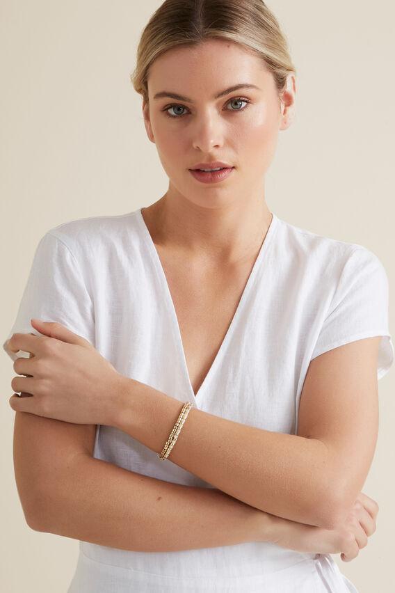 Contrast Bead Bracelet  GOLD/CREAM  hi-res