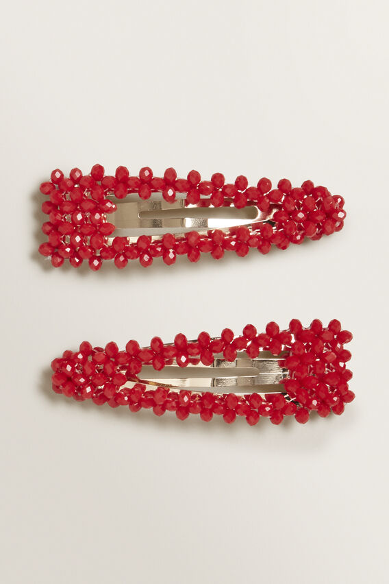 Beaded Hair Clips  BOLD POPPY  hi-res