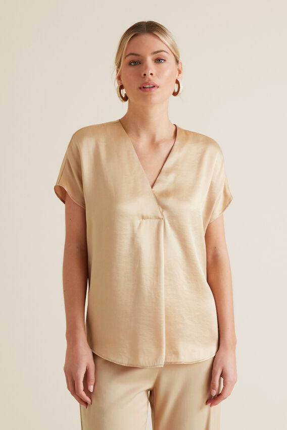 Pleat Front Top  SOFT BEIGE  hi-res
