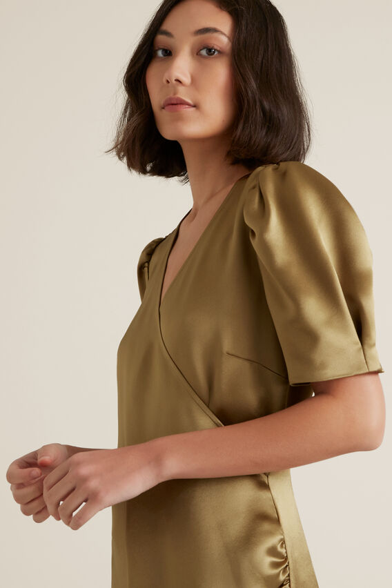 Wrap Over Dress  HONEY BROWN  hi-res