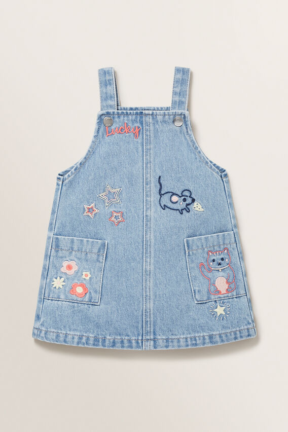 Embroidered Denim Pinafore  WASHED BLUE  hi-res