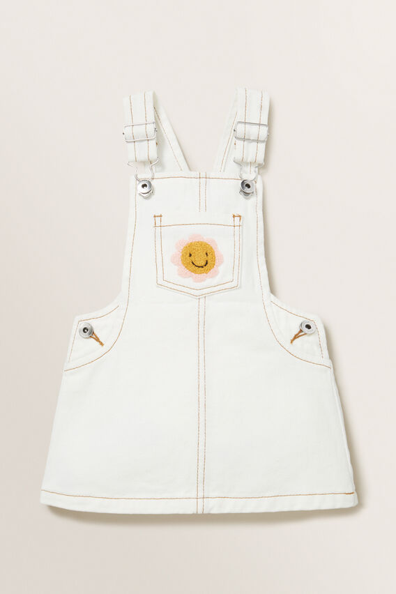 Patch Denim Pinafore  CREAM  hi-res