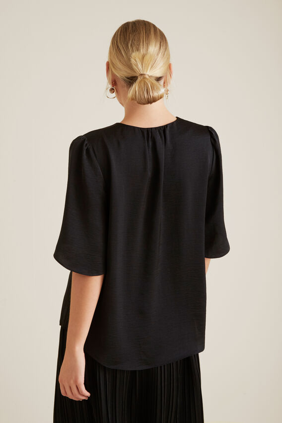 Flutter Sleeve Blouse  BLACK  hi-res