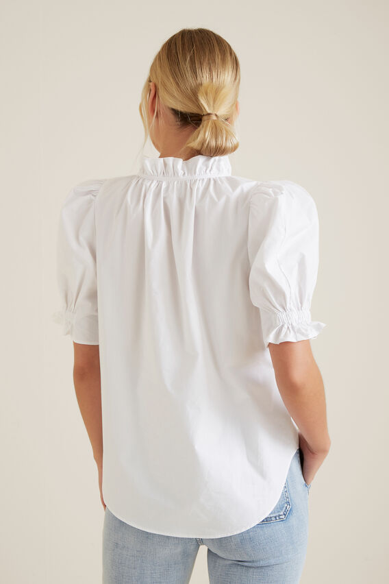 Puff Sleeve Frill Shirt  WHISPER WHITE  hi-res