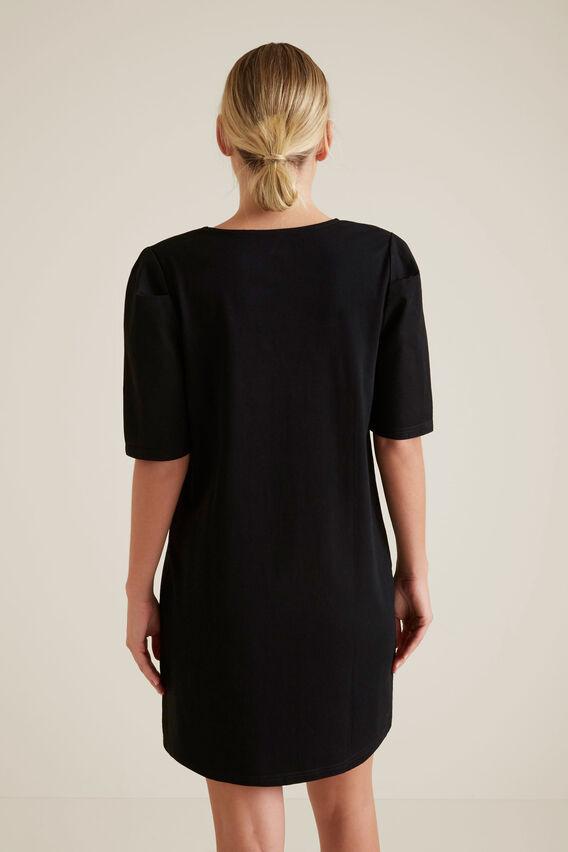 Mini Puff Sleeve Dress  BLACK  hi-res