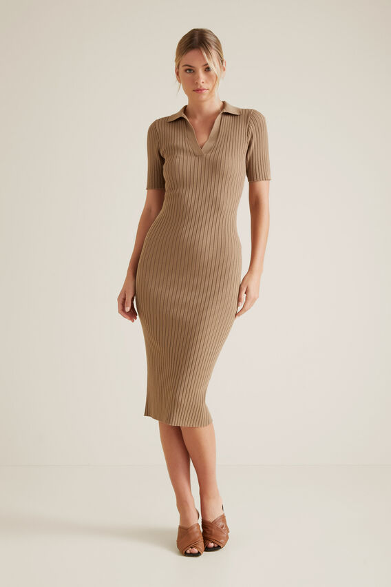 Neat Collared Dress  WARM CINNAMON  hi-res