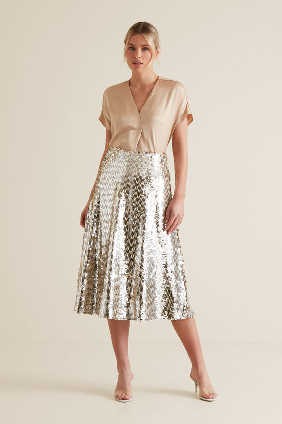 Sequin Skirt  SILVER  hi-res